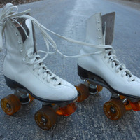 "Roller Derby  Skates White  Orange Wheels Vintage Sports Fitness Fun Summer Park  10"" from toe to heel"