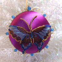 Blue Butterfly on Purple Background Hand Beaded Christmas Ornament