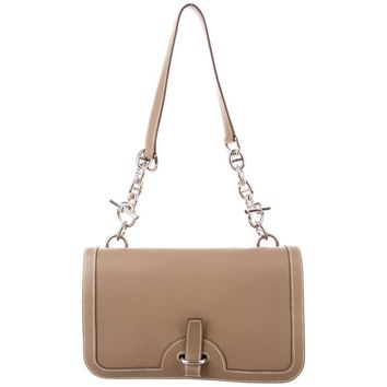 Hermes Taupe Leather Palladium Chain Buckle Evening Shoulder Flap Bag