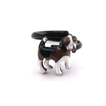 Beagle Puppy Shaped Pets Inspired Adjustable Ring