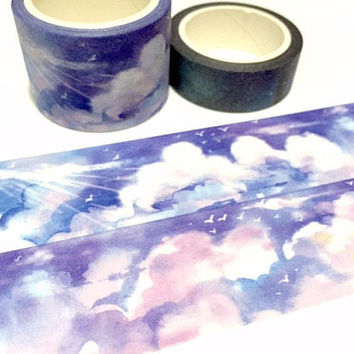 sunlight sky washi tape 7M x 3cm sky scenes wide tape white cloud seagull sunrise wonderful scenes nature scenes masking sticker tape