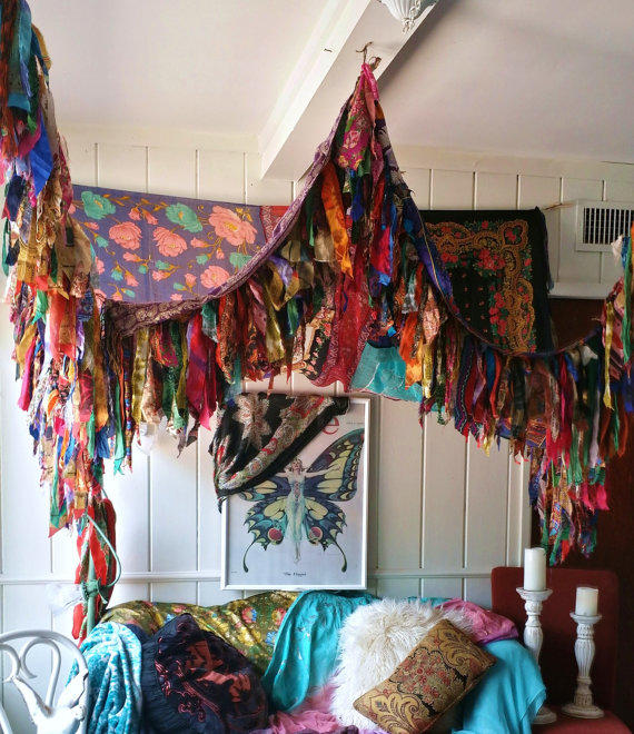 Bohemian Bed Canopy Boho Hippy vintage from HippieWild on Etsy