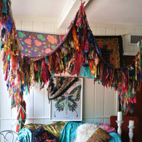 Bohemian Bed Canopy Boho Hippy vintage scarves Gypsy hippie patchwork meditation garden Wedding Decor curtain photo prop backdrop Fringe
