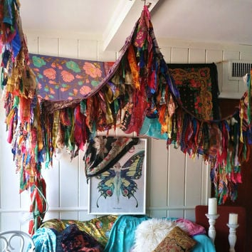 Bohemian Bed Canopy Boho Hippy vintage scarves Gypsy hippie patchwork meditation garde & Bohemian Bed Canopy Boho Hippy vintage from HippieWild on Etsy