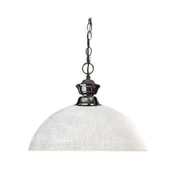 Z-Lite 100701GM-DWL14 Shark One-Light Gun Metal Dome Pendant with White Linen Glass Shade