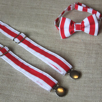 Red And White Stripe Bow Tie and Suspender set ( Riley Blake Stripes/ Men, boys, baby, toddler, infant, wedding, ringbearer)