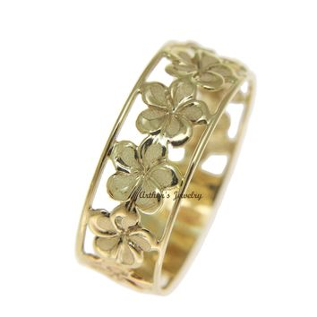 SOLID 14K YELLOW GOLD HAWAIIAN FANCY PLUMERIA FLOWER 6.5MM LEI RING