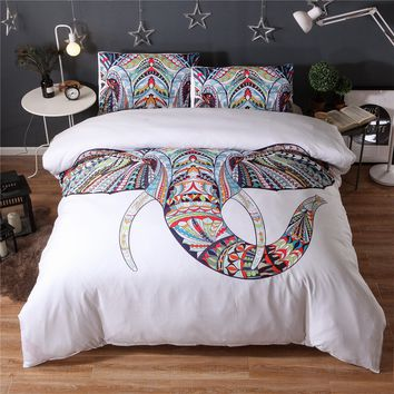 Free Shipping 3 Pieces 3D Elephant Bedding Set Bohemia King Duvet Cover with Pillow Case Colorful Printed Indian Bed Set Cover