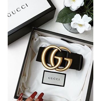 GUCCI Popular Women Men Chic Smooth Buckle Belt Leather Belt+Gift Box Black I/A