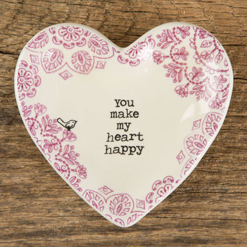 "Heart Trinket Dish ""You Make My Heart Happy"" by Natural Life"