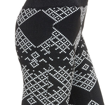 Women's Regular Diamond Black and White Fleece Leggings