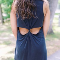 Cutout Back Cupro Dress, Black