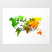world map 120 find joy in the journey #map #worldmap Art Print by jbjart