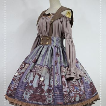 Steampunk Cat Series Lolita Printed A-line Skirt with Detachable Sailor Collar by Soufflesong