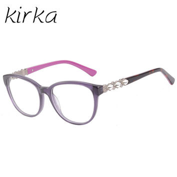 Kirka Women Eyeglass Frame Eyewear Brand Designer purple crystal Optical glasses Classic Eyeglasses Frame prescription Frame