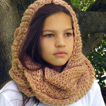 Beige Hooded Infinity Scarf - Beige Scarf - Hand Knit Cowl - Knitted Scarf with Hood - Chunky Hooded Scarf - Infinty Scarf