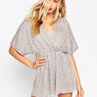ASOS Kimono Playsuit in All Over Dazzle Embellishment