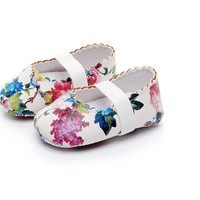 Infant Baby Girls Floral Pattern Crib Shoes