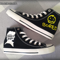 Sherlock 'Bored' Painted Shoes / Custom Converse