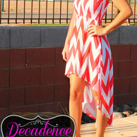 CRUISE IN CHEVRON HI LOW DRESS (3colors)