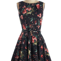 Closet Mid-length Sleeveless A-line Luck Be a Lady Dress in Roses