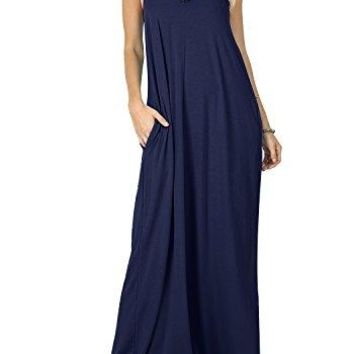 CALIPESSA Women's Summer Casual Plain Swing Pockets Loose Beach Cami Maxi Dress