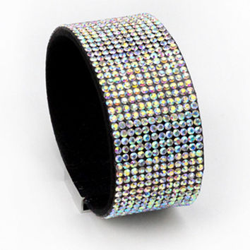 Fashion 12 drainage drilling Leather bracelet Full Rhinestone Crystal cape bracelets for Women bracelets & bangles jewelery
