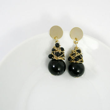 Black wire wrapped earrings / black and gold original dangle earrings
