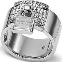 Michael Kors Silver-Tone Crystal Plaque and Padlock Ring