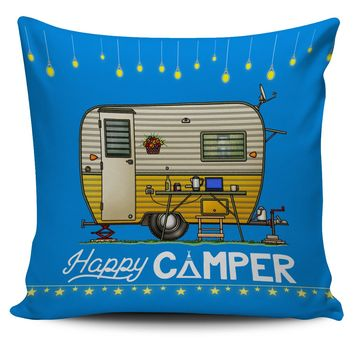 Pillow Cases - Happy Camper Pillow Cover