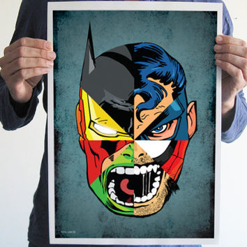 Digital print comics superman batman iron man hulk spiderman wolverine captain america art poster