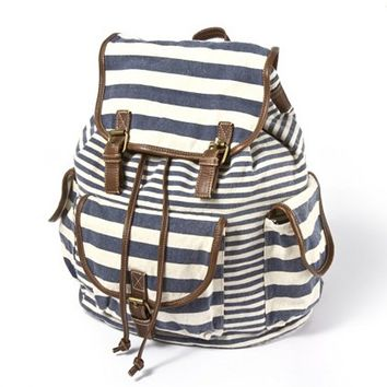 Mixed Stripe Canvas Backpack  | Claire's
