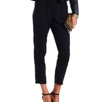 High-Waisted Pleated Trousers by Charlotte Russe - Black