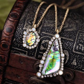Wing Yuk Tak Top Fashion Exquisite Shiny Gradient Color Triangle Double Link Chain Pendant Necklaces Women Trendy Jewelry