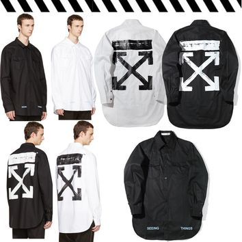 Off White Printing Paint Arrow Long Sleeved Shirt M Xxl