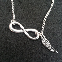 The Fault In Our Stars Inspired Charm Necklace - Infinity + Wings