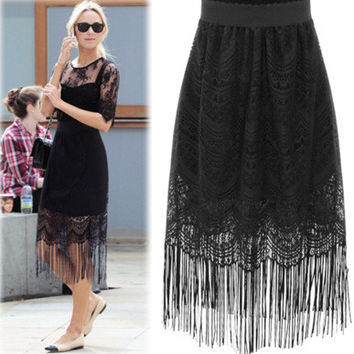 Lace Tassel Solid Bodycon Slim Long Skirt