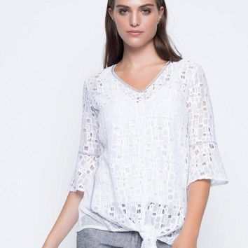 Picadilly Tie Front Ruffle Sleeve Top