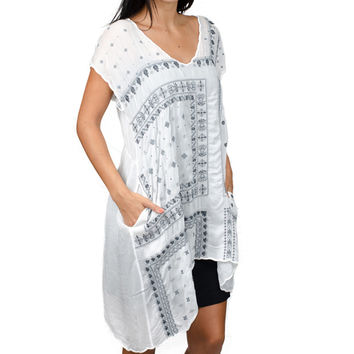 White Bandana Tunic by Johnny Was
