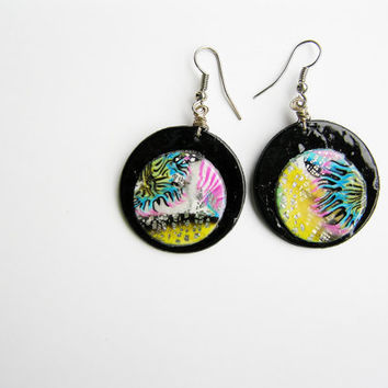 Abstract earrings- polymer clay- earrings- dangle earrings- multicolored- polymer clay jewelry- abstract- round earrings- modern earrings