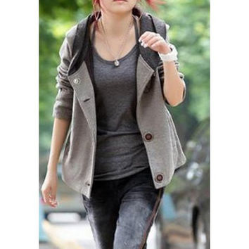 Gray Hooded Long Sleeve Jacket