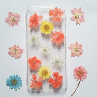 iPhone 6 Case, iPhone 6 Plus Case Clear, Pressed Flower iPhone 6 Case, Clear iPhone 6 plus Case, iPhone 6 Plus Case,red daisy iphone case