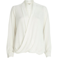 River Island Womens Cream wrap blouse