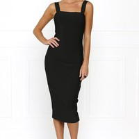 Honey Couture KAYLA Black Thick Strap Midi Bandage Dress
