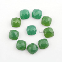 Green Chrysoprase Chalcedony Faceted Wholesale Gemstone Cushion 10x10mm AAA Grade Loose Gemstone - 5 Pcs.