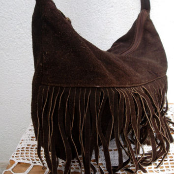 Fringed Hobo Bag, Suede Leather Hippie Purse, Brown Leather Boho Messenger, Hipster Festival Shoulder Bag, Bohemian Handbag, 70s Tribal Tote