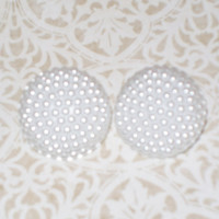 White Button Pearl Earrings by StrictlyCute on Etsy