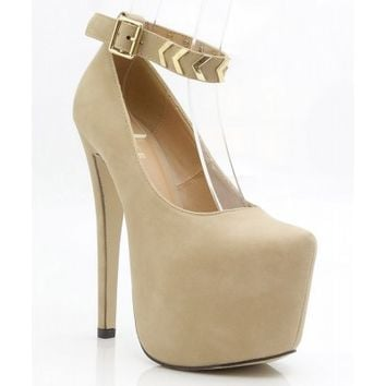 Glaze Almond Toe Gold Decor Ankle Strap Double Platform Pump Heels TAUPE