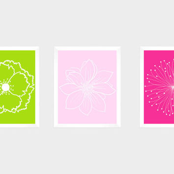 Set of 3 White Flower Blossoms on Pinks and Green Prints CUSTOM COLORS Modern Art Prints for Nursery Decor Custom Colors Modern prints  8x10