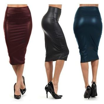 Pencil Faux Leather Skirt - Hight Waist Plus Sizes S/M/L/XXXL